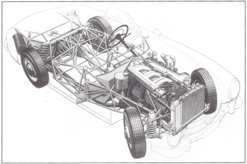 Mercedes 300 SL Cut-away diagram (From Race Car Chassis Design and Construction by Forbes Aird)
