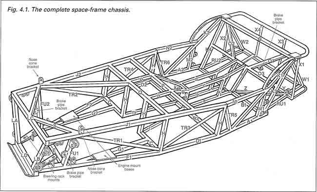 "Diagram SF1. Spaceframe chassis for a ""Lowcost"" car. From Ron Champion's book ""Build Your Own Sports Car For As Little As £250"","