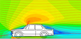 EasyCFD flow simulation output of a car